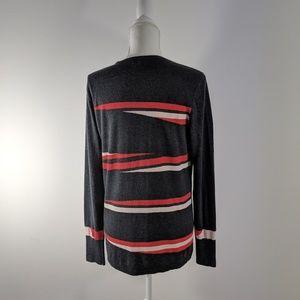 Halogen Sweaters - Halogen Grey Red Cream Long Sleeve Sweater